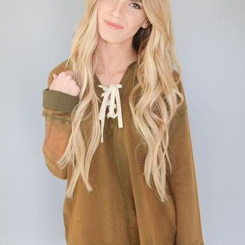 Stone Washed Lace Up Hoodie Olive