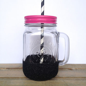 Mason Jar To Go Cup - Black Glitter Mason Jar Mug - Bridesmaid Gifts, Bachelorette Party Glasses, Personalized Tumbler, Valentines Day Gift