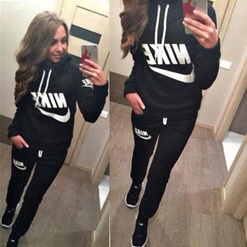 Casual Print Hoodie Pants Trousers Set Two-Piece