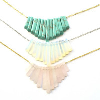 "Genuine Opalite Boho fringe semi precious stone Sterling silver or 14k gold Necklace, 16"" chain, perfect Mother's Day gift"