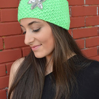 Neon Green HandKnitted Headband With Sequins Flower Embellishment Headwarmer Wide Headband Ear Warmer - Handmade