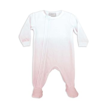 Coccoli Baby Girls' Pink Ombre Zipper Velour Footie