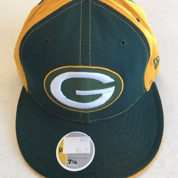 RETRO NEW ERA 5950 GREEN BAY PACKERS YELLOW SIDES FLAT BRIM FITTED HAT
