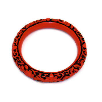 Faux Cinnabar  Carved Lucite Bangle