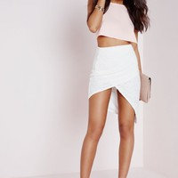 Missguided - Lace Wrap Midi Skirt White