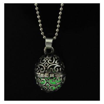 New Vintage Steampunk Hollow Ball Green Magic Glow In Dark Pendant Necklace
