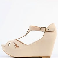 Bamboo Renata-42 Cut Out T Strap Wedges | MakeMeChic.com