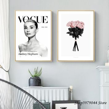 Audrey Hepburn Canvas Painting Pink Flower Poster Nordic Style Decoracao Para Casa Quadro Wall Pictures For Living Room Unframed