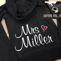 Bride Hoodie, Custom Personalized Bride Zip Up Sweatshirt, Bride Shirt, Mrs Hoodie, Bachelorette Party, Bridal Shower Gift, Plus Size