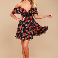 Devoted to Love Black Floral Print Wrap Dress