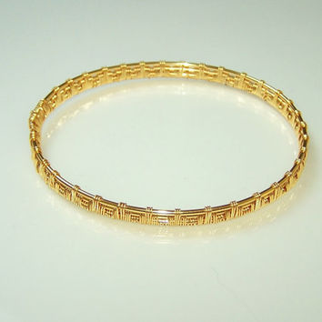 Wire Wrapped Gilt On Copper Bangle Bracelet, Cuff Bracelet, Bracelet From Gilt On Copper Wire