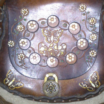Stunning Vintage WESTERN 70s HAND TOOLED and Hand Painted Brown Leather Purse - Butterflies - Horse - Flowers
