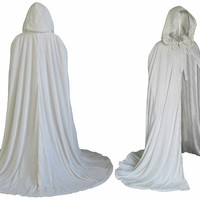 Artemisia Designs Renaissance Lined Velvet Cloak Ivory or Off White Velvet One Size