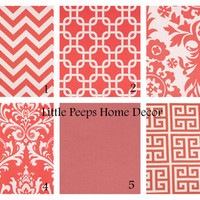 """CORAL Pillows 20"""" Decorator Pillow Covers Set of Two 20 inch Designer Fabric FRONT and BACK Mix & Match Salmon Pink"""