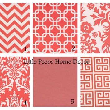 "CORAL Pillows 20"" Decorator Pillow Covers Set of Two 20 inch Designer Fabric FRONT and BACK Mix & Match Salmon Pink"