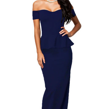 Blue Sweetheart Off-Shoulder Peplum Maxi Dress