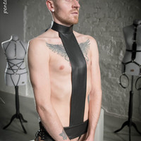 "Seductive leather male gay trans harness based on reversed cross fetish BDSM ""Crucified for HIM"""