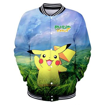 BTS New 2018 Pokemon Go Pikachu Eevee 3D Kawaii Anime Print Women/Men Baseball Jacket Sweatshirts Spring Cool Jacket 4XL Coats