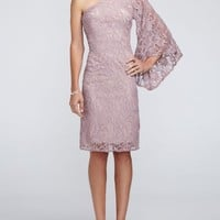 Short Batwing Sleeve All Over Lace Dress - David's Bridal