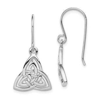 925 Sterling Silver Rhodium-plated Polished Celtic Knot Shepherd Hook Earrings