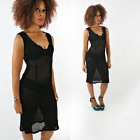 vintage 80s black sheer BODYCON mesh CROCHET dress size S/M