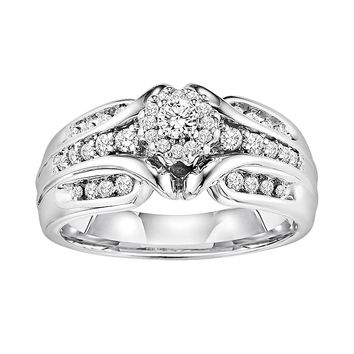 Cherish Always Round-Cut Diamond Multirow Cluster Engagement Ring in 10k White Gold (1/2 ct. T.W.)