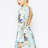 ASOS Skater Dress with Open Back in Floral Print