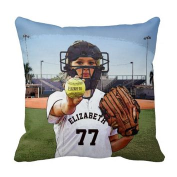 Softball Player Catcher With Your Name And Number Throw Pillow