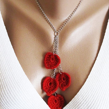 Heart Necklace Valentines - heart jewelery, red necklace, heart crochet, crochet necklace,