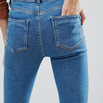 ASOS PETITE RIDLEY High Waist Skinny Jeans in Lily Wash at asos.com