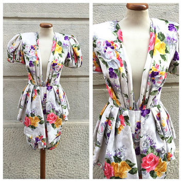 ODICINI - 80s Odicini Silk Dress - Vintage Andrea Odicini Dress - Vintage Silk Flowered Dress Size S M