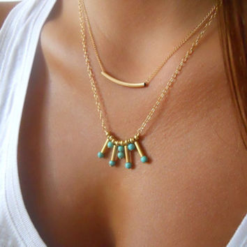 Women Jewelry Boho Gold Lasso Turquoise Beads Multilayers Exquisite Clavicle Necklaces SM6