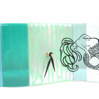 Mermaid Fused Glass Clock