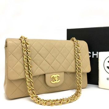 Chanel Classic Double Flap 25 Tan Lambskin Leather Shoulder Bag 5652 (Authentic Pre-owned)