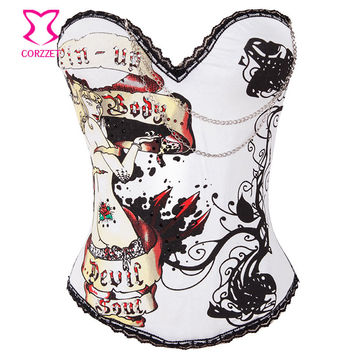 2269 Burlesque Magic Prints Cotton Corset Corpetes E Espartilhos Para Festa Push Up Bustier Sexy Corsets Women Gothic Clothing