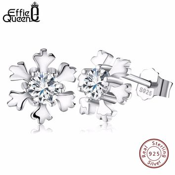 Effie Queen AAA CZ Crystal Christmas Snowflake Stud Earrings Real 925 Sterling Silver Cute Small Snowdrop Women Earrings BE12