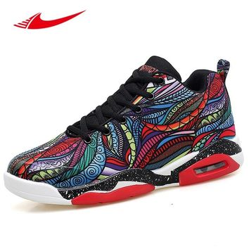 Beita Colorful Painting Men Basketball Shoes Air Cushioning Lovers Sneakers Anti-Slippery Training Boots Plus Size 35-47