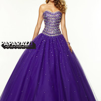 Sweetheart Beaded Tulle Ball Gown Paparazzi Prom Dress By Mori Lee 97094