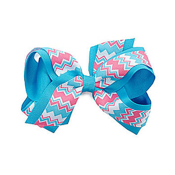 Copper Key Two-Tone Chevron Grosgrain Stack Bow