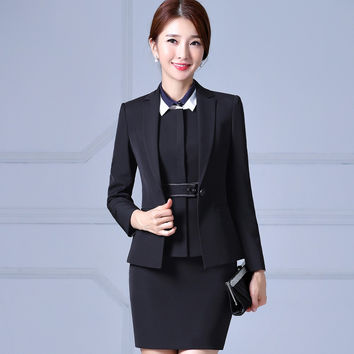 Professional women fashion blazer with skirt set elegant female full sleeve business work skirt suits ladies office uniform