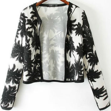 Black Leaf Pattern Coat
