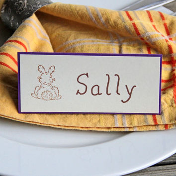Easter Place Cards with Little Brown Rabbit, Set of Handmade Name Cards with Bunny, Dinner Table Decoration, Seating Cards, Purple Tent Card