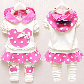 Girls Clothing Sets Mickey Head Hoodies+Pants 2pcs/Set Baby Kids Casual Long-Sleeved T-shirt Dot Leggings Set