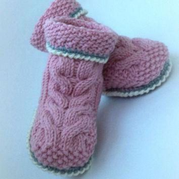 MDIG1O Crocheted booties baby boots knitted baby Uggs Baby Baby Boy Baby Girl Booty knit baby