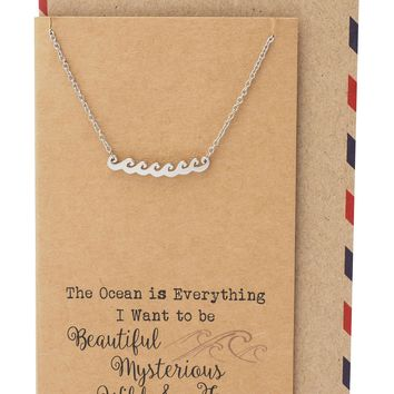 Anya Ocean Necklace Wave Charm Pendant for Women, Inspirational Quote on Greeting Card, Silver Tone