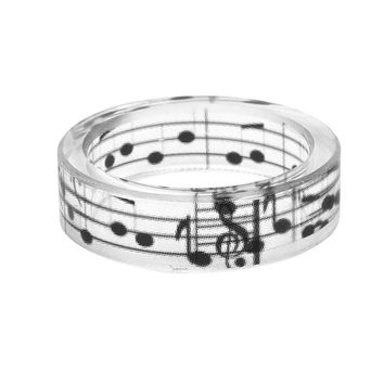 Simple Fashion Musical Note Ring Men Ink Painting Scenery Inside Epoxy Resin Rings Women Jewelry Black And White