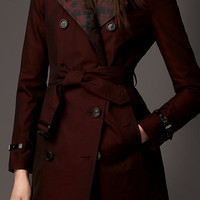 Gabardine Trench Coat with Contrast Jacquard Detail