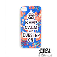 KEEP CALM and DUBSTEP on floral iPhone case iPhone 4 iPhone 4s iPhone 5 hard plastic case