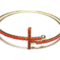 Skinny gold plated red orange Rhinestones Sideways cross cuff bangle bracelet  - pave stacking adjustable bracelets valentine's day