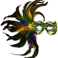 Handmade Venetian Masquerade Mask with Feather-Venetian Masks-Mardi Gras Mask-Festival Wear-Halloween Mask-Mask Wall Decor